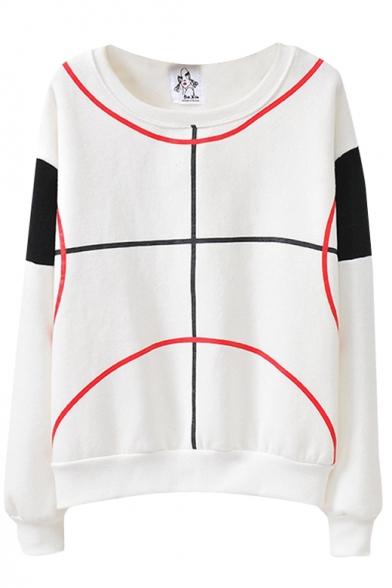 Straight Line Curve Print Color Block Round Neck Sweatshirt