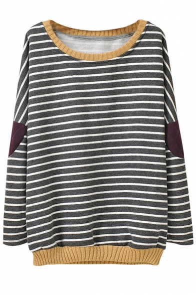 Stripe Print Cloth Patch Round Neck Long Sleeve Sweatshirt