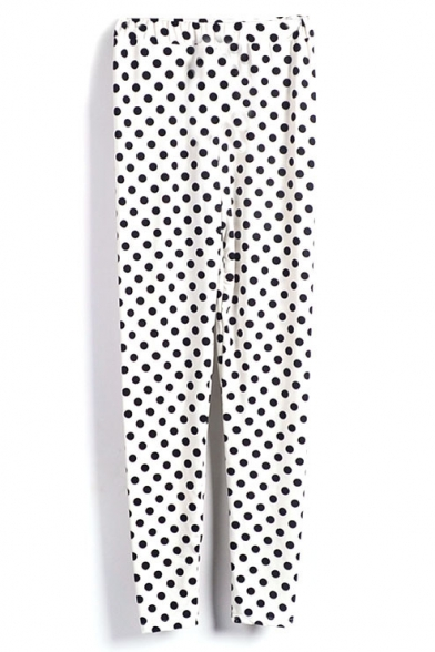 White Leggings With Black Polka Dots