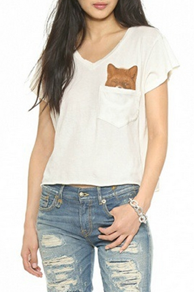 White V-Neck Short Sleeve Pocket Dog Print T-Shirt