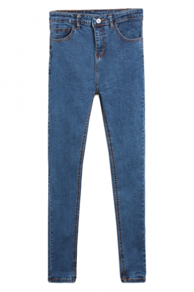 Blue Light Wash Zipper Fly Plain Jeans with Pockets Detail