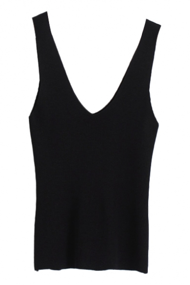 Candy Color Plain V-Neck Sleeveless Fitted Tank