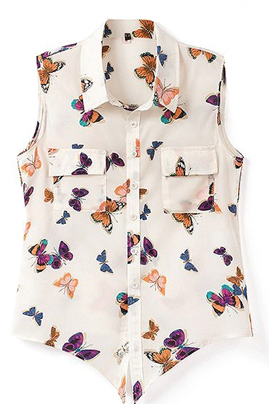 Cream Sleeveless Tie Waist Butterfly Chiffon Shirt