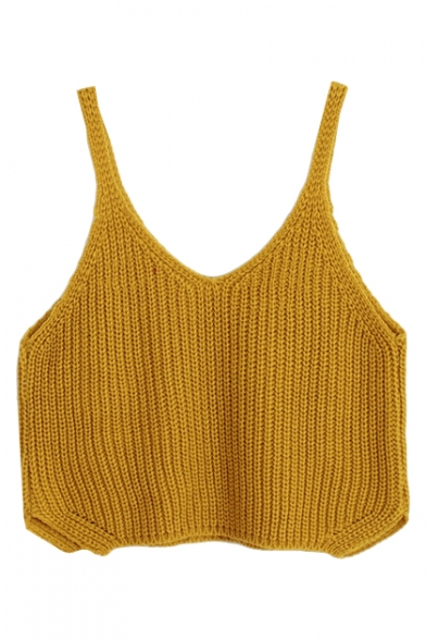 Crop Plain Fashionable V-Neck Knitting Camis