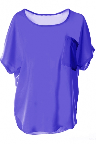 Dark Purple Short Sleeve Pocket Front Chiffon Blouse ...
