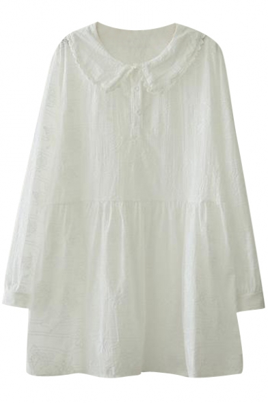 Lace Trim Lapel Embroidered Detail Cotton High Waist Swing Dress
