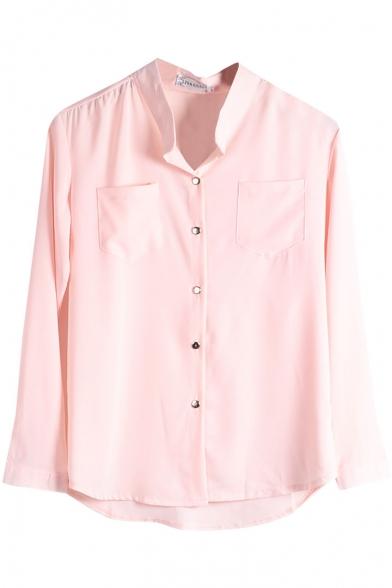 Pink Double Pockets Front Chiffon Shirt