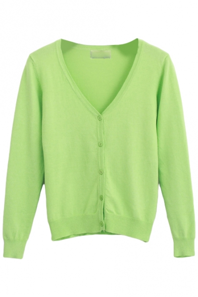 V-Neck Crop Plain Fresh Style Cardigan