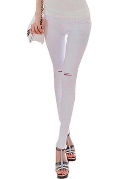 White Plain Raw Edge Hem Open Knees Pencil Jeans with Zipper Fly ...