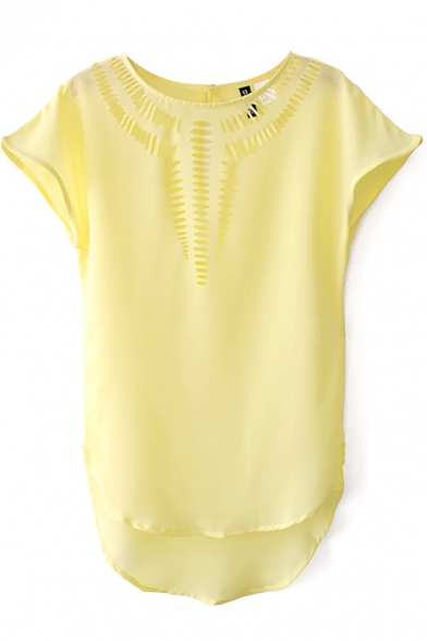 Yellow Short Sleeve Cutout Detail High Low Hem Blouse