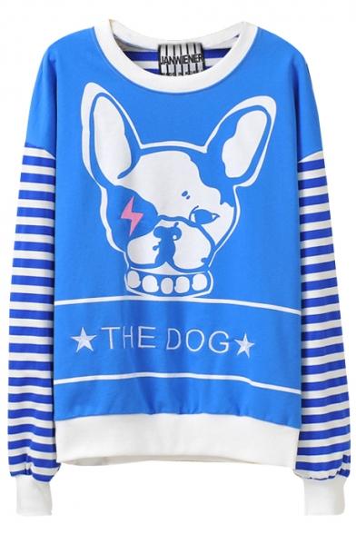 Blue Dog Letter Stripe Print Round Neck Sweatshirt