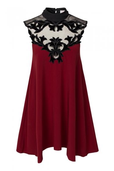 Burgundy High Neck Floral Pattern Ruffle Hem Dress