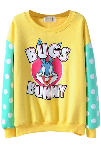 Candy Color Letter Cartoon Rabbit Print Polka Dot Sleeve Sweatshirt