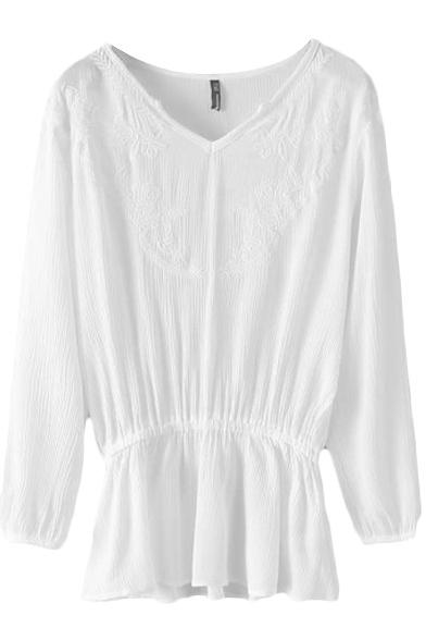 Chiffon V-Neck Long Sleeve Elastic Waist White Lace Embroidered Blouse