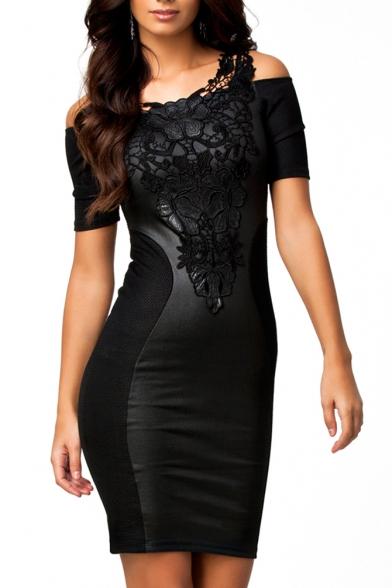 Lace Panel Short Sleeve Black Plain Dress