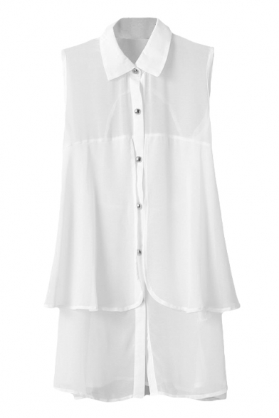 White Sleeveless Double Layer Slim Chiffon Shirt