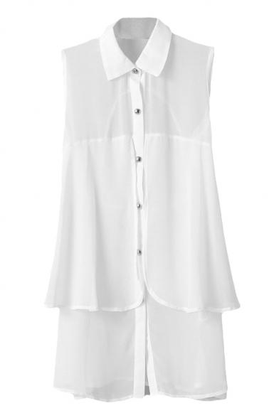 White Sleeveless Double Layer Slim Chiffon Shirt