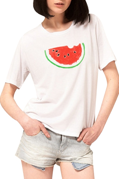 White Watermelon Print Short Sleeve T-Shirt