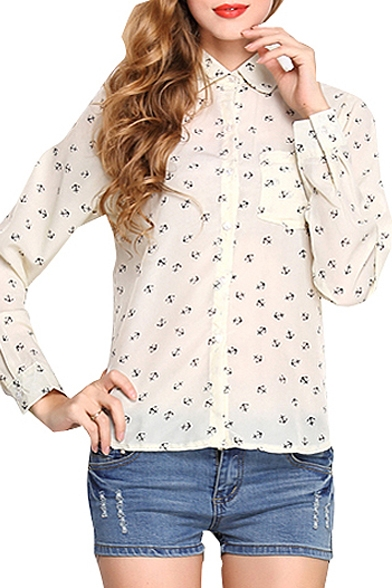Image of All Over Anchor Print Pocket Front Shirt