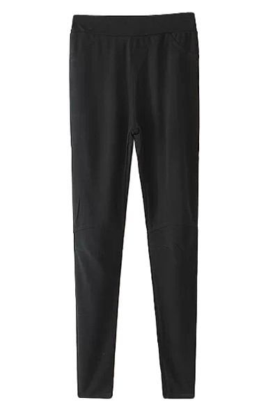 Black Plain Casual Skinny Pants