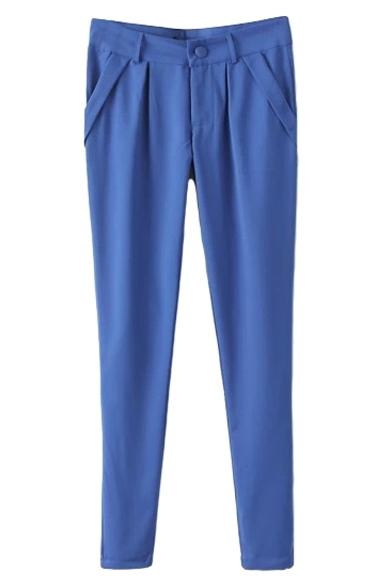 Blue Simple Skinny Pencil Pants