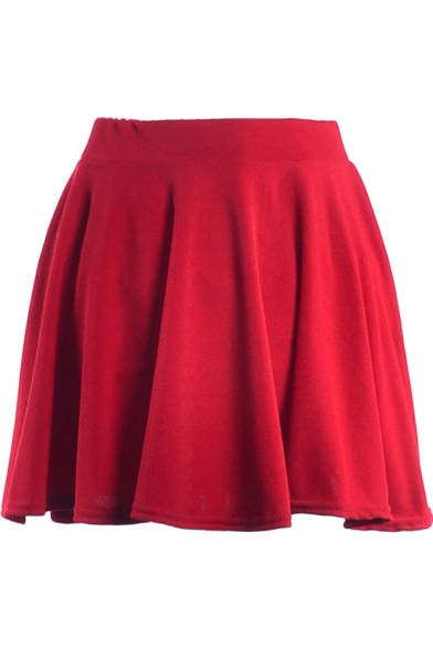 Plain  Ladylike A-line Short Skirt
