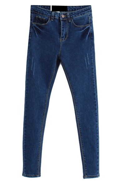 Denim Distressed Dark Wash Pencil Jeans with Zipper Fly