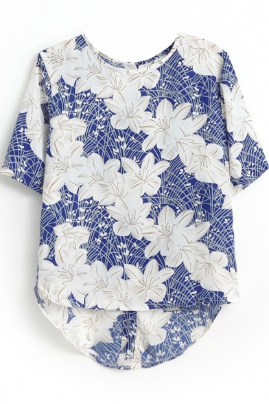 Lily Print Blue Background High-low Hem Blouse