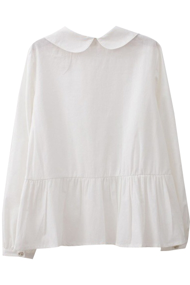 Ruched Detail Sunflower Embroidery White Shirt