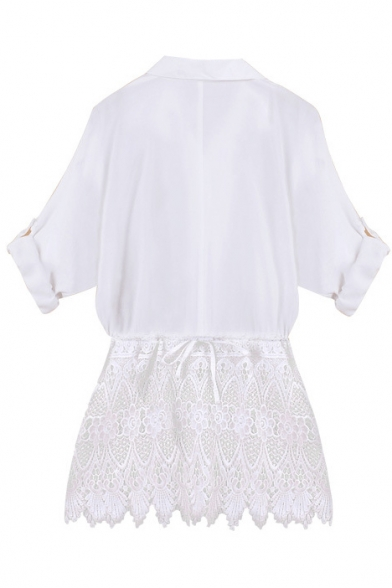 White Long Sleeve Lace Insert Hem White Blouse