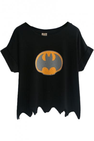 Batman Print Loose Round Neck Short Sleeve Tee