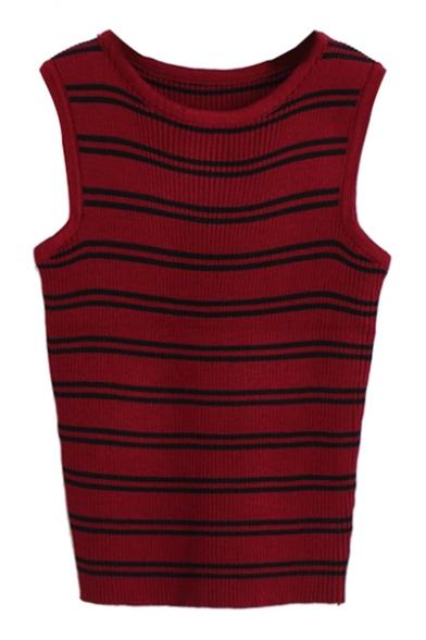 Double Stripe Pattern Knitting Vest