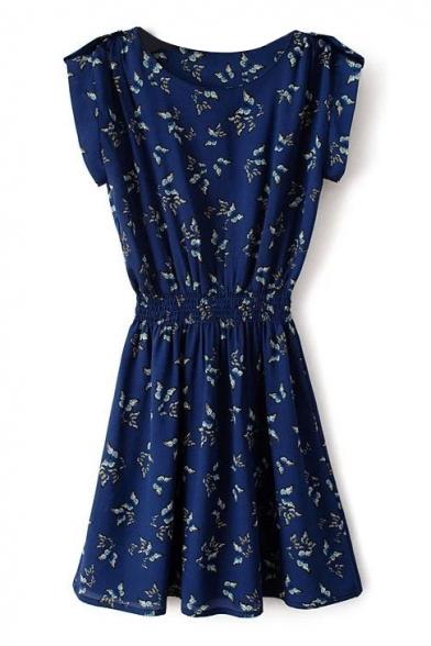 Navy Butterfly Print Short Sleeve Gathered Waist Dress