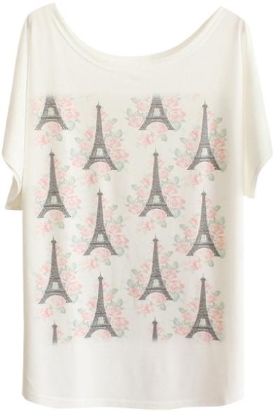 Rose&Eiffel Tower Print White Tee
