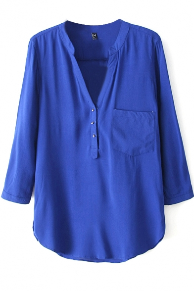 Royal Blue Long Sleeve V-Neck Pocket Blouse