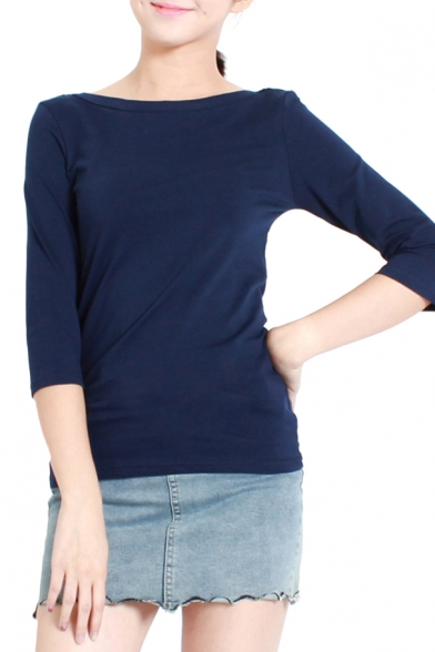 3/4 Sleeve Dark Blue Boat Neck Cotton Tee