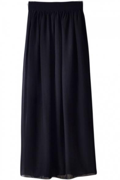 Elastic Waist Chiffon Maxi Skirt Beautifulhalo Com