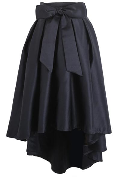 Bowknot High Waist Plain Pleated Skirt with Dip Hem ...
