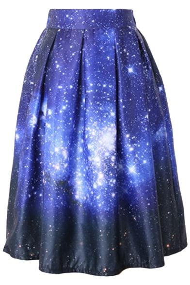 Dream Starry Sky Print High Waist Pleated Midi Skirt