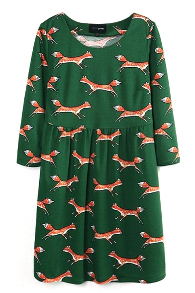 Green Fox Print Round Neck Gathered Waist Dress