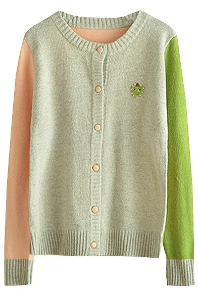 Japanese Fresh Style Color Block Flower Applique Cardigan