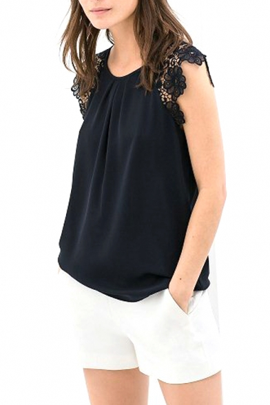 Navy Lace Insert Short Sleeve Sheer Blouse