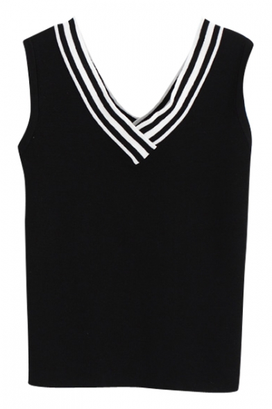 Stripe V-Neck Sleeveless Knit Fitted Crop Tank