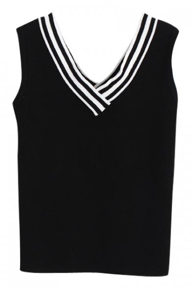 Stripe V-Neck Sleeveless Knit Fitted Crop Tank