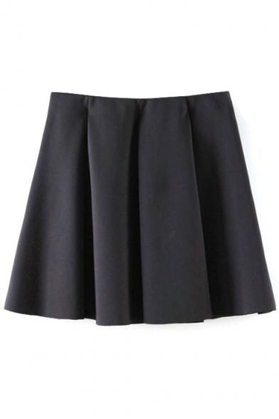 Black Fitted Ruffle Hem Pleated Mini Skirt
