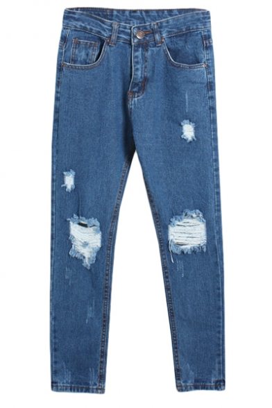 Blue High Waist Open Knee Loose Harem Jeans