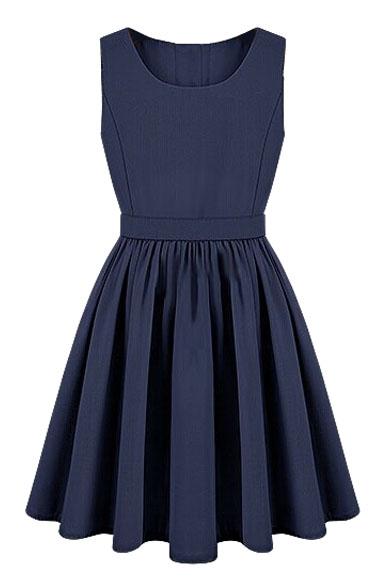 Blue Round Neck Sleeveless Cutout Dress