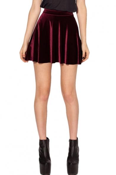 Burgundy Club Style Mini Velvet Skater Skirt