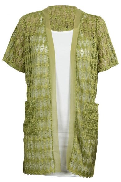 Lace Crochet Short Sleeve Cutout Tunic Cardigan - Beautifulhalo.com