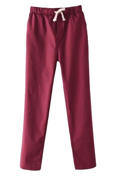 Plain Straight Leg Line Elastic Waist Drawstring Waist Pants